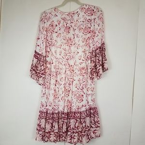 Lucky Brand Dresses - Lucky brand white floral bell sleeve dress large